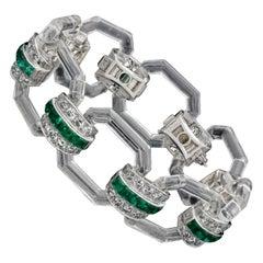 Hennells Art Deco Bracelet in Rock Crystal, Emerald & Diamond 1929