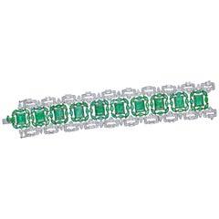 Art Deco Bracelet with 51.56 Carat Emerald and 15.22 Carat Diamonds