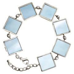 Art Deco Bracelet with Big Blue Quartzes, Collection Featured in Vogue