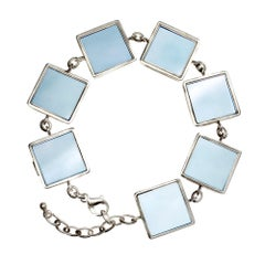 Art Deco Bracelet with Big Natural Chalcedonies, Collection Featured in Vogue