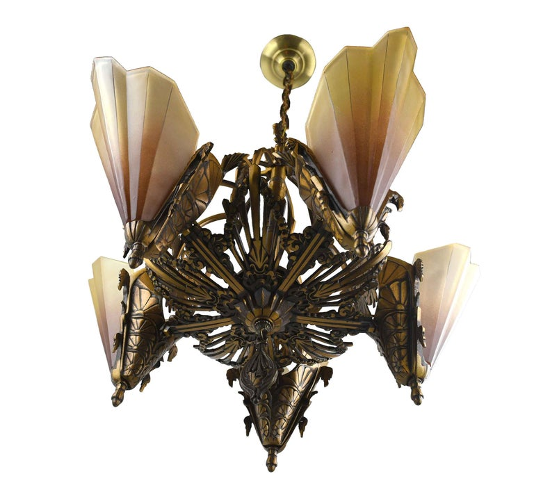 Art Deco Brass 5-Shade Slip Shade Chandelier In Good Condition For Sale In Minneapolis, MN