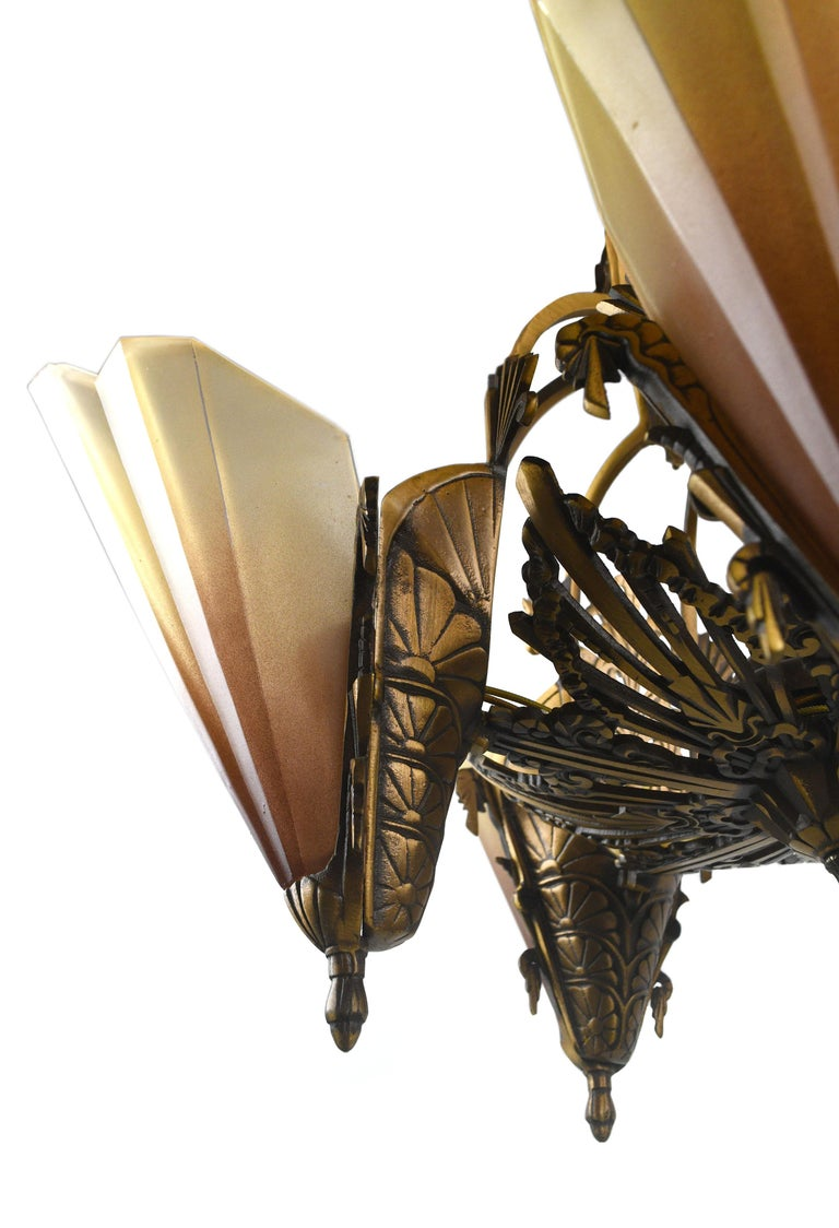 Early 20th Century Art Deco Brass 5-Shade Slip Shade Chandelier For Sale
