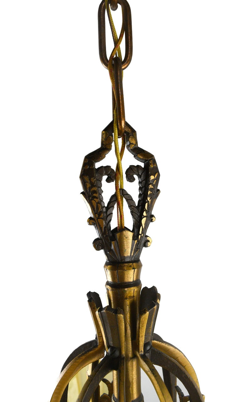 Art Deco Brass 5-Shade Slip Shade Chandelier For Sale 3