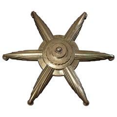 Art Deco Brass 6-Arm Chandelier, circa 1930