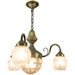 Art Deco Brass and White Frosted Glass Four-Light Chandelier, 1930s