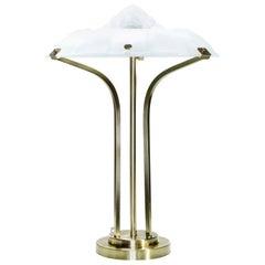 Lampe aus Messing und Milchglas im Art Deko Stil, aus den 1940ern