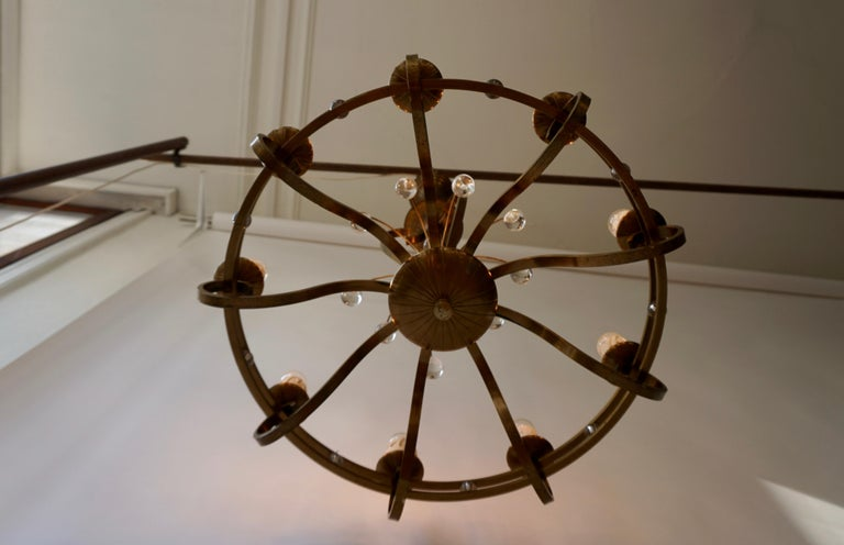 Art Deco Brass and Glass Chandelier For Sale 4