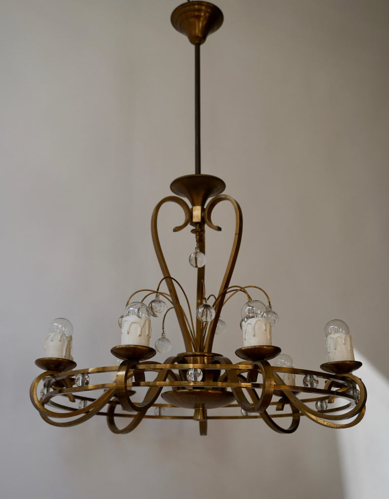 Art Deco Brass and Glass Chandelier For Sale 5