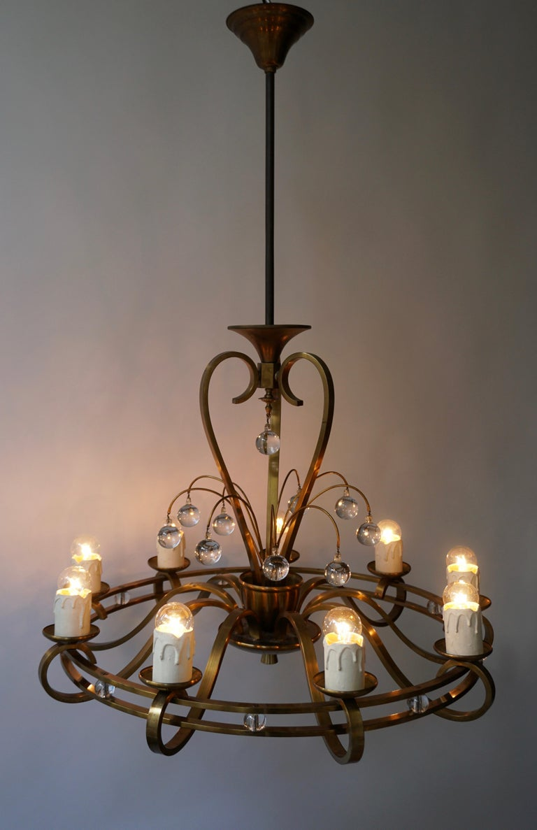 Art Deco Brass and Glass Chandelier For Sale 6
