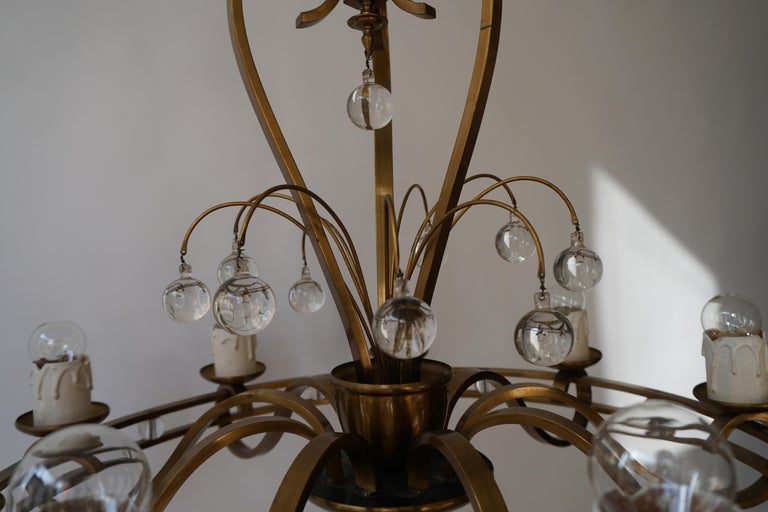 Art Deco Brass and Glass Chandelier For Sale 7