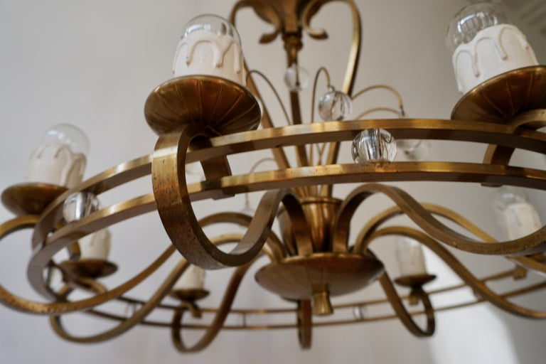 Art Deco Brass and Glass Chandelier For Sale 8