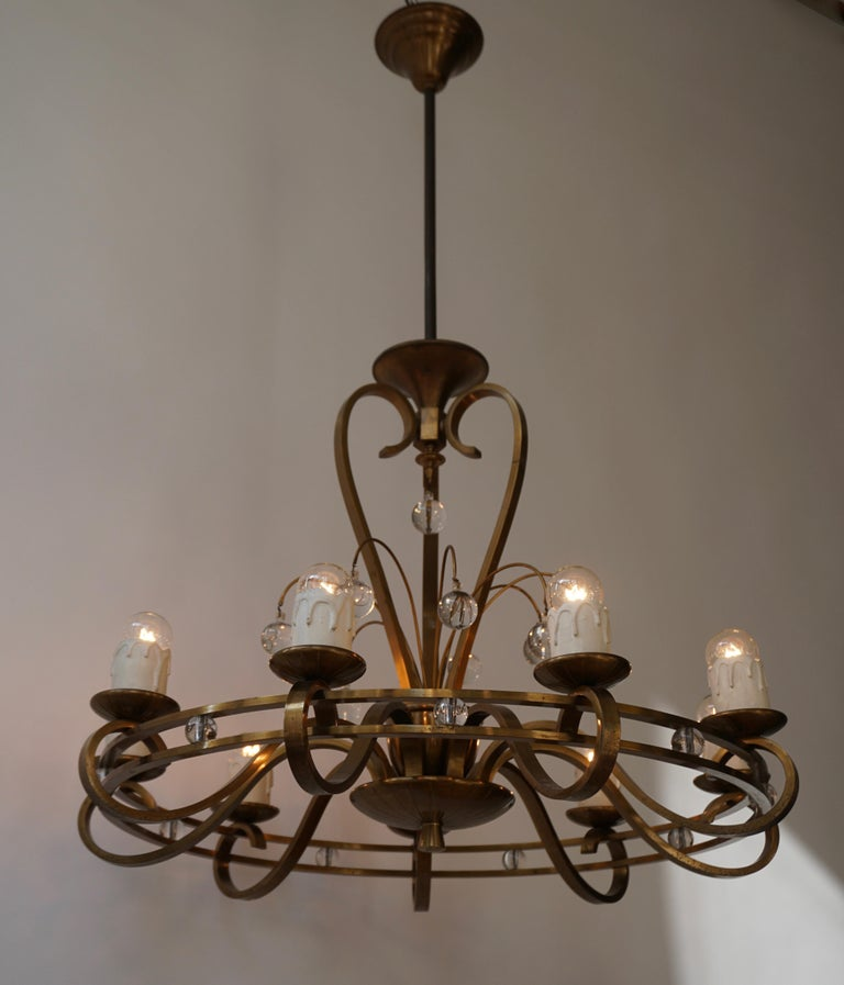 Hollywood Regency Art Deco Brass and Glass Chandelier For Sale