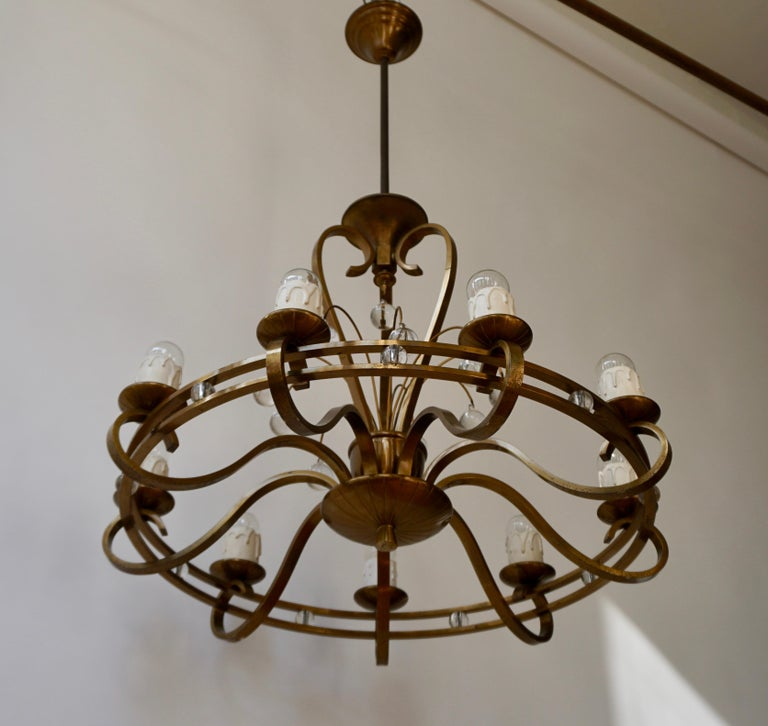 Italian Art Deco Brass and Glass Chandelier For Sale