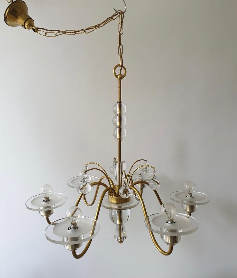 Art Deco Brass and Glass Chandelier In Good Condition For Sale In Antwerp, BE
