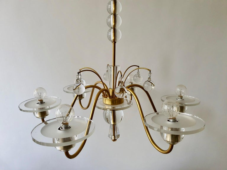 20th Century Art Deco Brass and Glass Chandelier For Sale