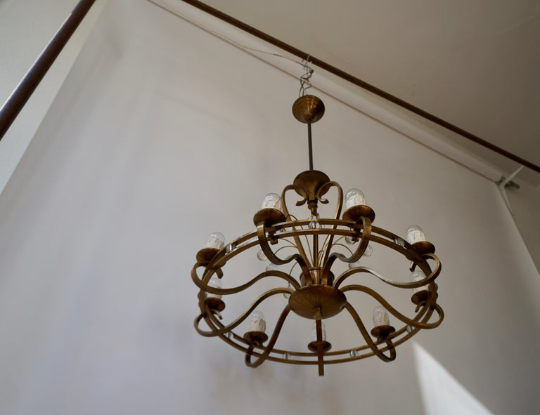 Mid-20th Century Art Deco Brass and Glass Chandelier For Sale