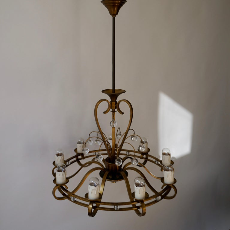 Art Deco Brass and Glass Chandelier For Sale 1