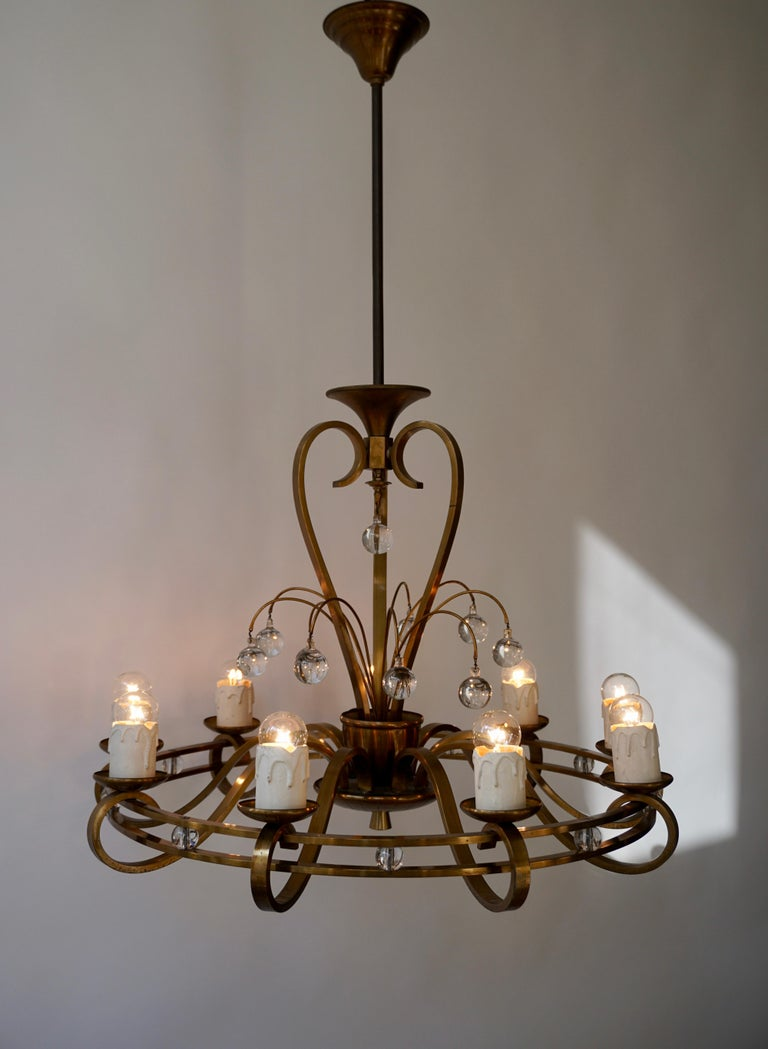 Art Deco Brass and Glass Chandelier For Sale 2