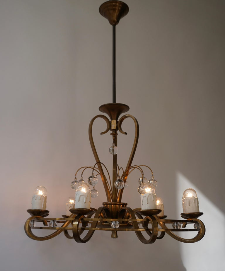 Art Deco Brass and Glass Chandelier For Sale 3