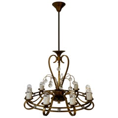 Art Deco Brass and Glass Chandelier