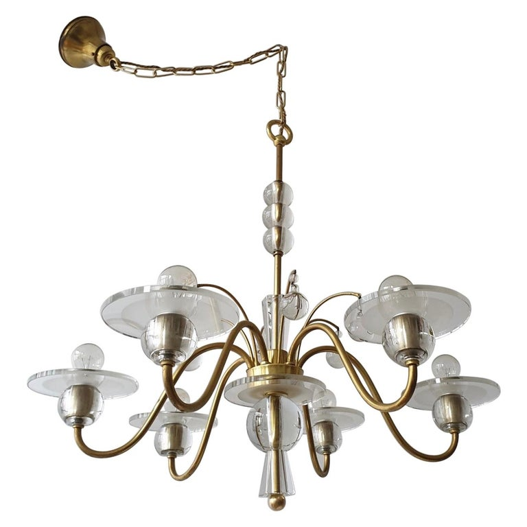 Art Deco Brass and Glass Chandelier For Sale