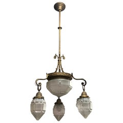 Art Deco Brass and Glass Italian Chandelier, circa 1930