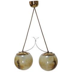 Art Deco Brass and Glass Pendant Light Austria 1940s
