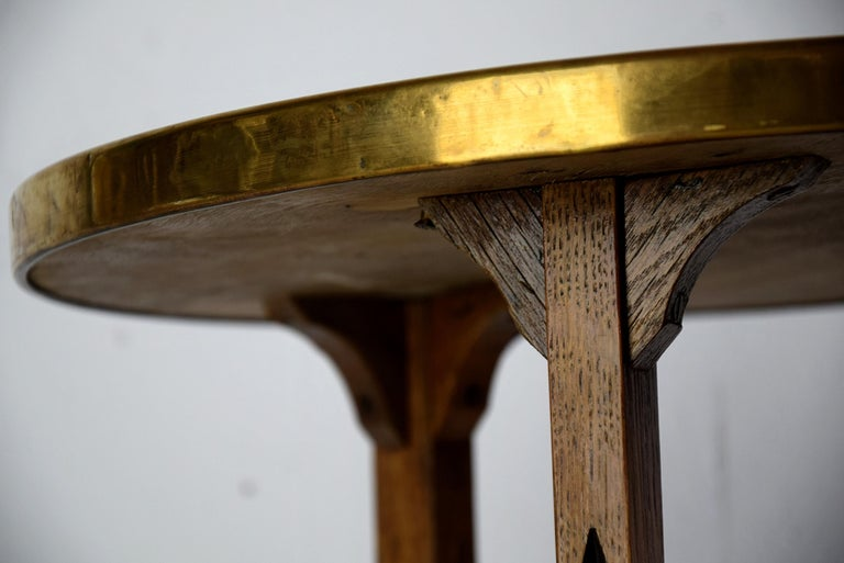 Art Deco Brass and Oak 1920 Side Table For Sale 6