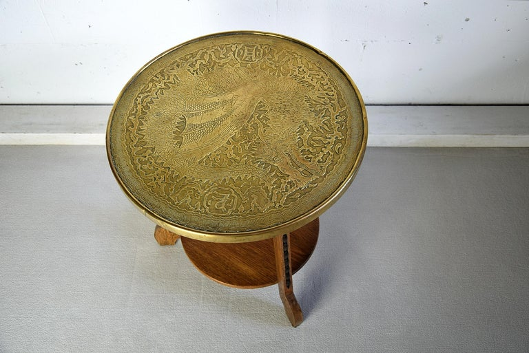 Art Deco Brass and Oak 1920 Side Table For Sale 7