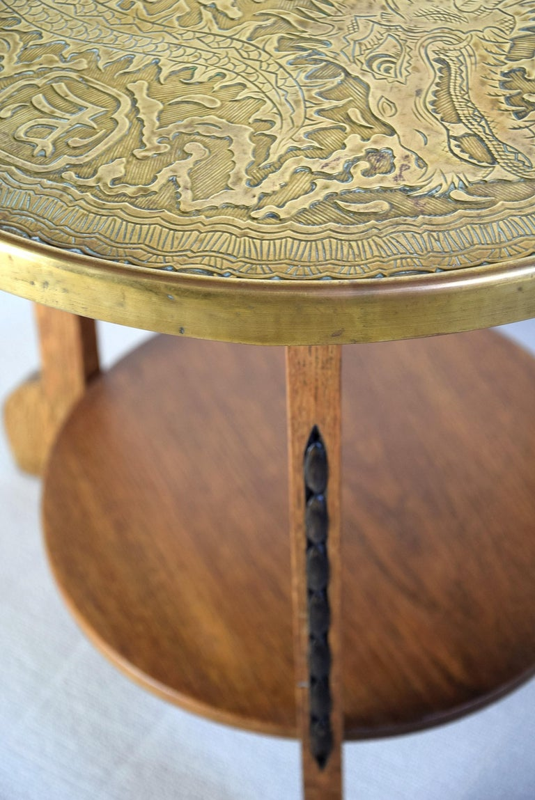 Art Deco Brass and Oak 1920 Side Table For Sale 9