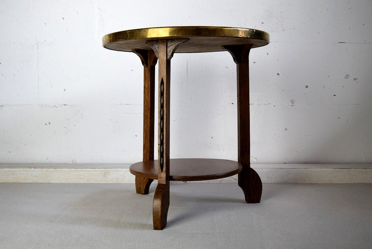 Early 20th Century Art Deco Brass and Oak 1920 Side Table For Sale