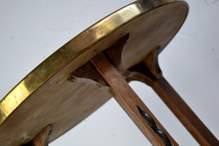 Art Deco Brass and Oak 1920 Side Table For Sale 2