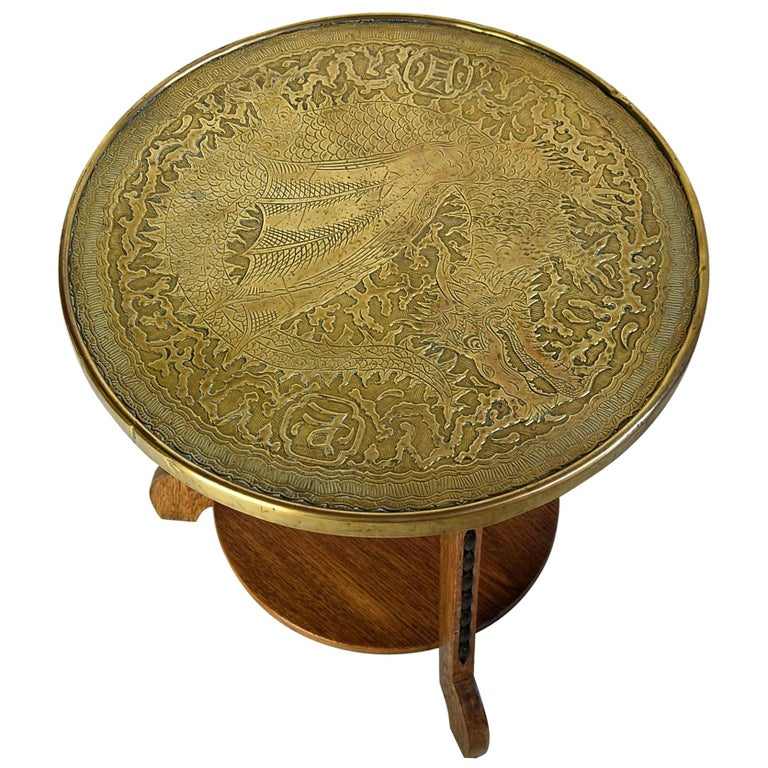 Art Deco Brass and Oak 1920 Side Table For Sale