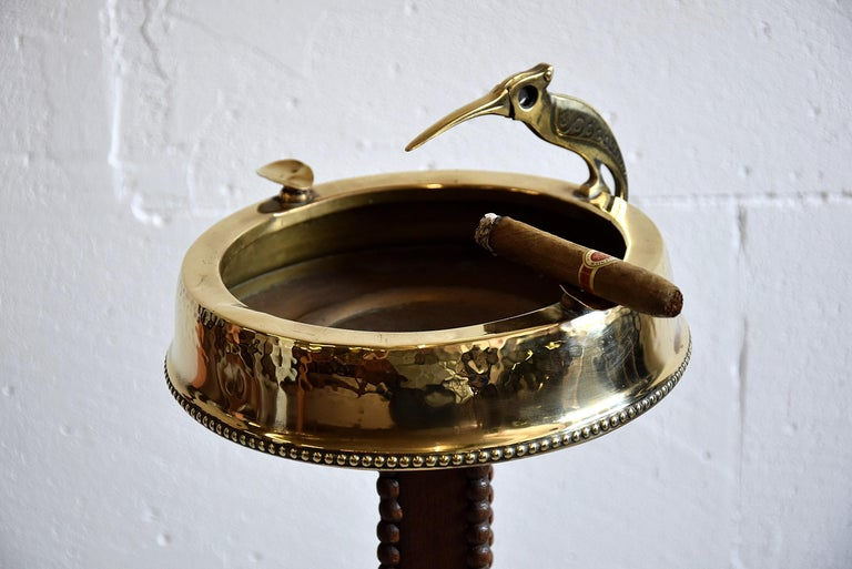 Art Deco Brass and Oak Ashtray Stand with Cigar Clipper For Sale 3