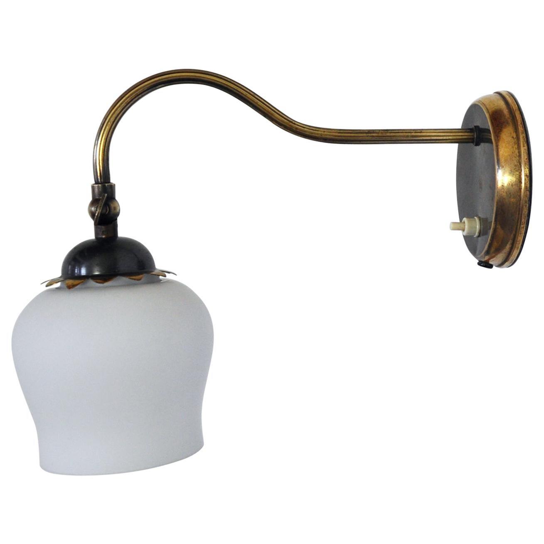 Art Deco Brass and Opaline Glass Wall Lamp, Scandinavia, 1930s