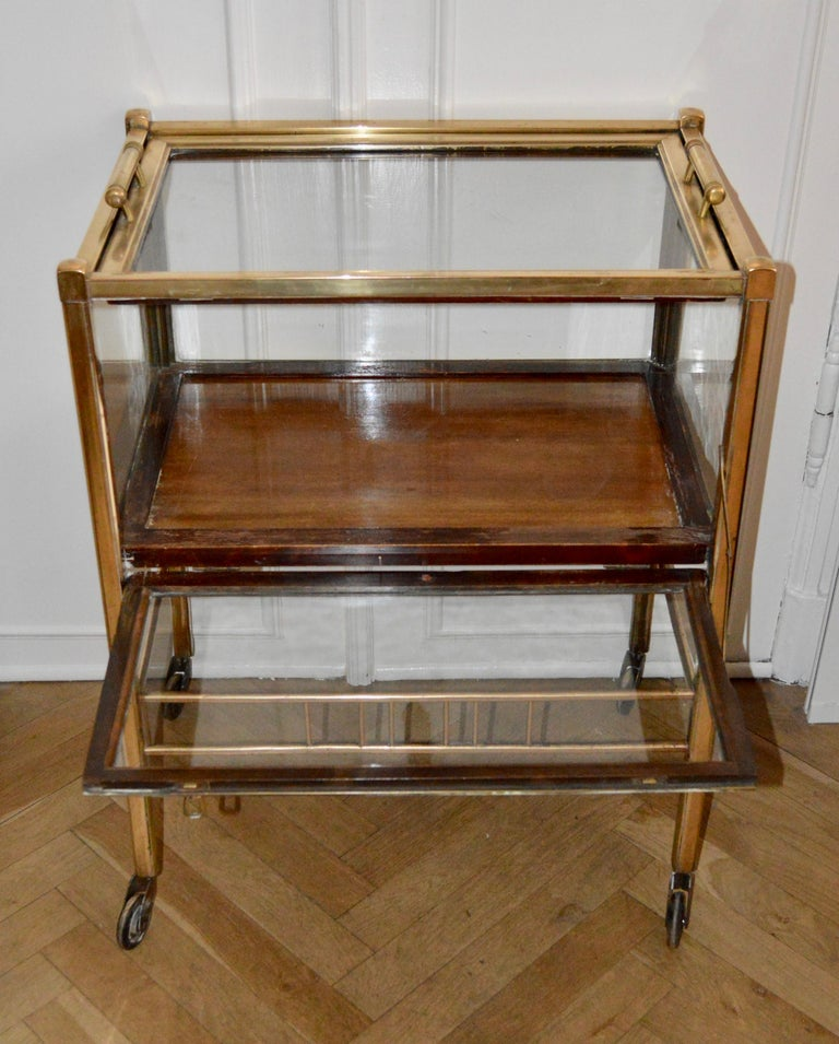 Art Deco Brass and Wood Bar Cart Trolley by Ernst Rockhausen, Germany, 1920s For Sale 5