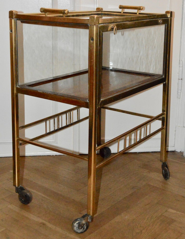 Art Deco Brass and Wood Bar Cart Trolley by Ernst Rockhausen, Germany, 1920s For Sale 7