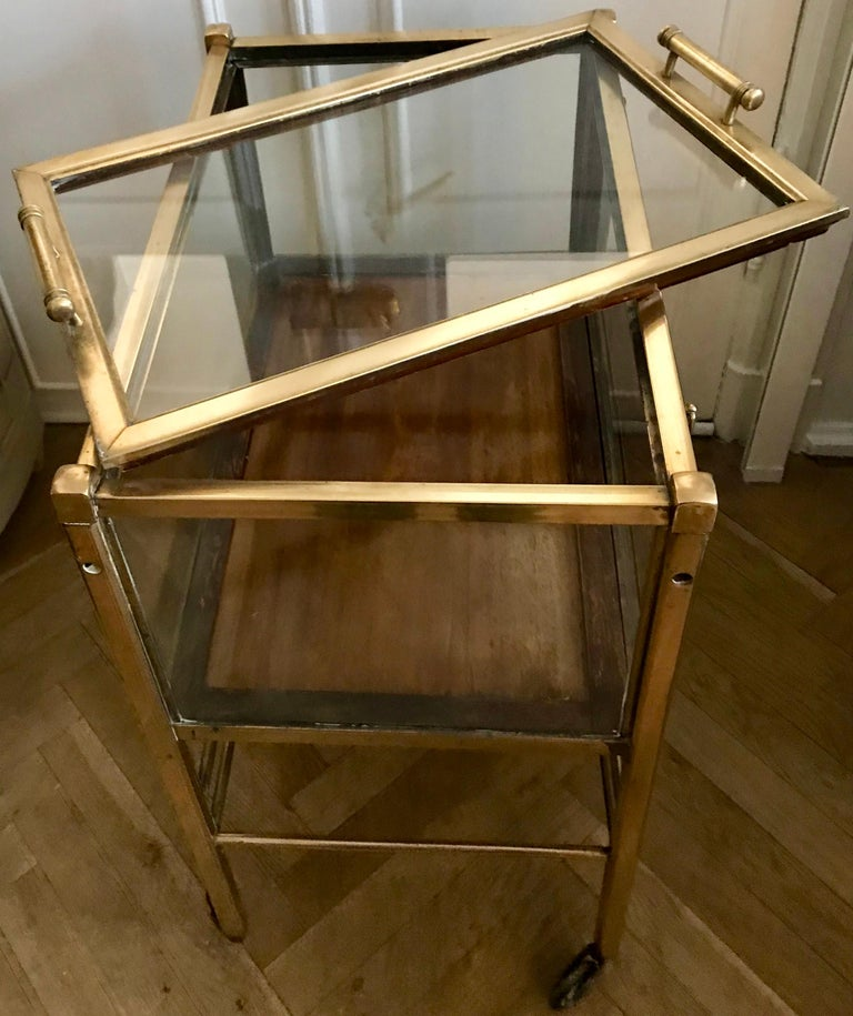 Art Deco Brass and Wood Bar Cart Trolley by Ernst Rockhausen, Germany, 1920s For Sale 10
