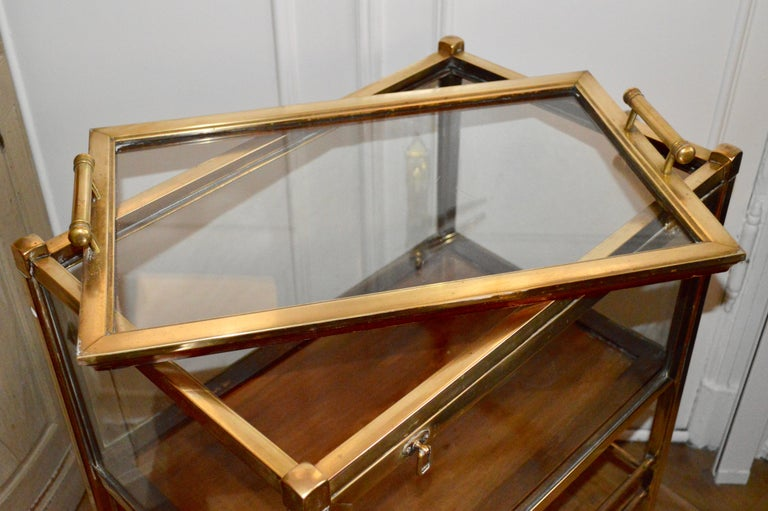Art Deco Brass and Wood Bar Cart Trolley by Ernst Rockhausen, Germany, 1920s For Sale 13