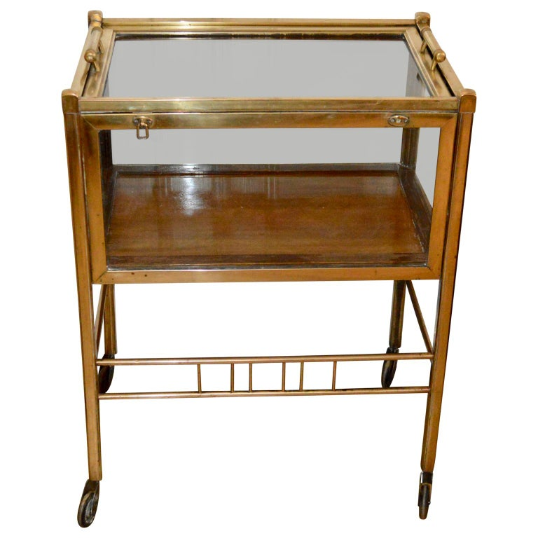 Beveled Art Deco Brass and Wood Bar Cart Trolley by Ernst Rockhausen, Germany, 1920s For Sale
