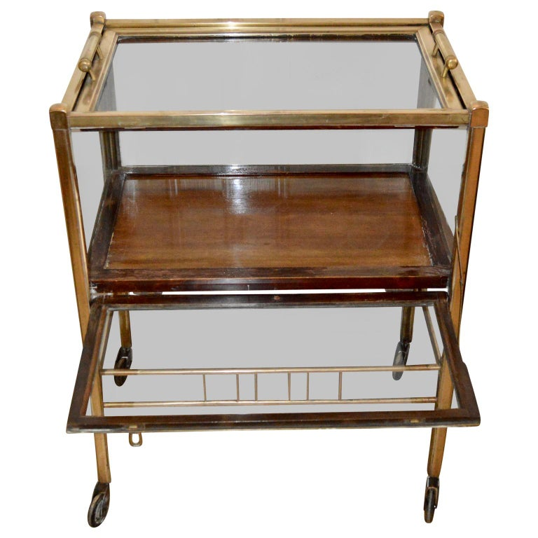 20th Century Art Deco Brass and Wood Bar Cart Trolley by Ernst Rockhausen, Germany, 1920s For Sale