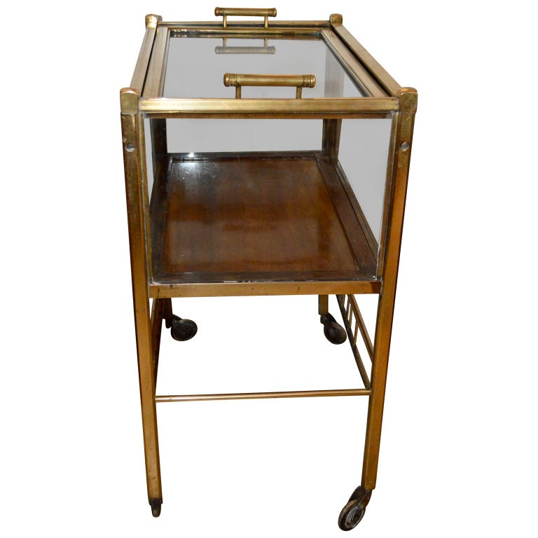 Art Deco Brass and Wood Bar Cart Trolley by Ernst Rockhausen, Germany, 1920s For Sale 1
