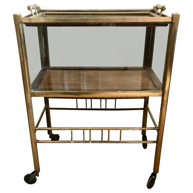 Art Deco Brass and Wood Bar Cart Trolley by Ernst Rockhausen, Germany, 1920s For Sale 2