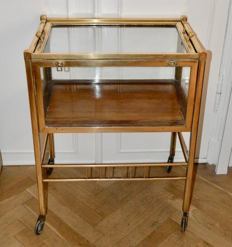 Art Deco Brass and Wood Bar Cart Trolley by Ernst Rockhausen, Germany, 1920s For Sale 4
