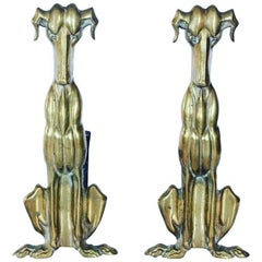 Art Deco Brass Andirons