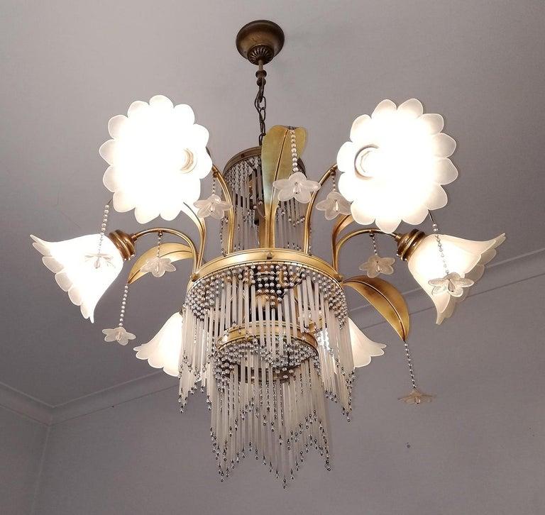 French Art Deco Brass Beaded Straw Glass Flowers Palm Tree Hollywood Regency Chandelier For Sale