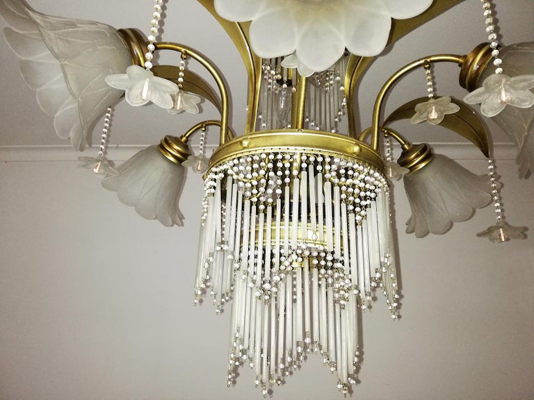 Art Deco Brass Beaded Straw Glass Flowers Palm Tree Hollywood Regency Chandelier For Sale 2