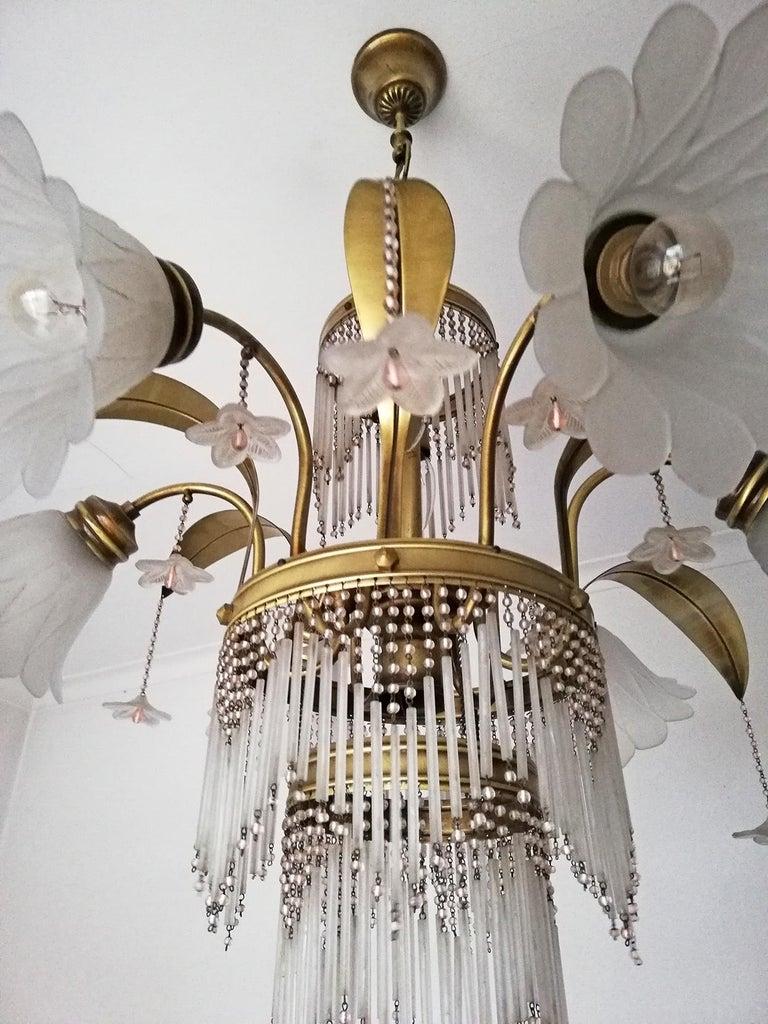 Art Deco Brass Beaded Straw Glass Flowers Palm Tree Hollywood Regency Chandelier For Sale 3