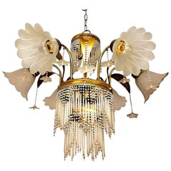 Art Deco Brass Beaded Straw Glass Flowers Palm Tree Hollywood Regency Chandelier