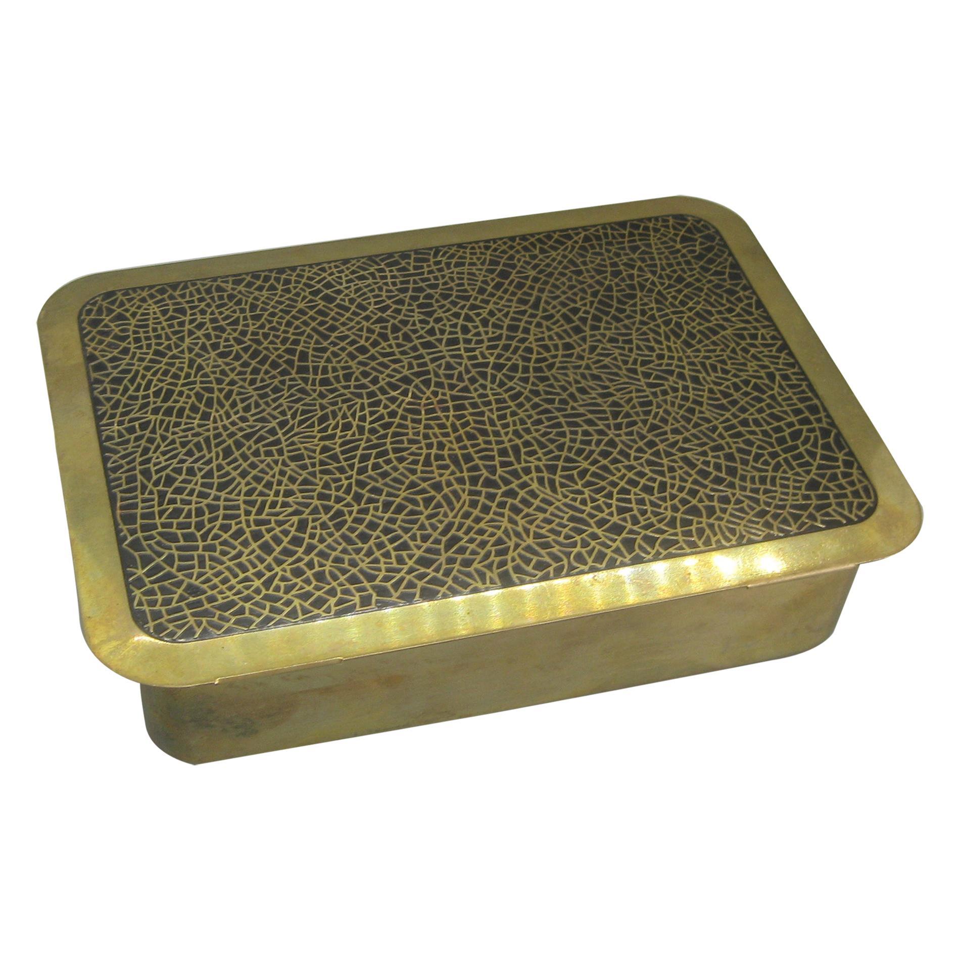 Art Deco Brass & Black Enamel Desk Stash Jewelry Trinket Box w/Wood Liner